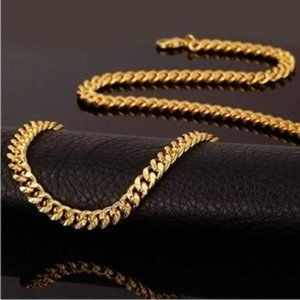 "Mens ""Jax"" 18K REAL Gold Plated 6mm Curb Chain"